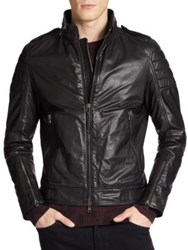 J. Lindeberg Tyrone 51 Waxy Leather Jacket Black