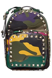 Valentino Camouflage Rockstud Leather And Cotton Backpack Multicolor