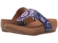 Comfortiva Sade Navy Acrylic Stone Embellished Women's Wedge Shoes Blue
