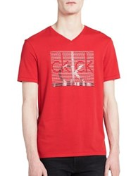 Calvin Klein Jeans Repeat V Neck Tee Race Car Red