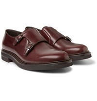 Brunello Cucinelli Leather Monk Strap Shoes Burgundy