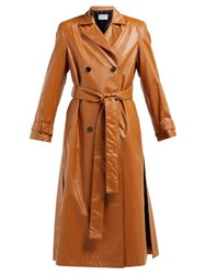 Osman Emme Double Breasted Faux Leather Trench Coat Brown