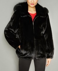The Fur Vault Fox Trim Hooded Mink Coat Ranch Black