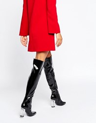 Daisy Street Clear Heeled Black Patent Over The Knee Boots Black Patent