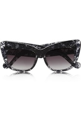 Anna Karin Karlsson Alice Goes To Cannes Cat Eye Lace Print Acetate Sunglasses Black