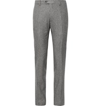 Lardini Slim Fit Puppytooth Wool Suit Trousers Gray