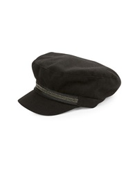 August Hats Embellished Newsboy Cap Black