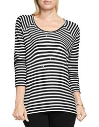 Vince Camuto Sequin Embellished Striped Three Quarter Sleeve Scoopneck Tee Black