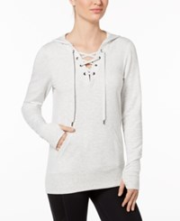 Ideology Lace Up Hoodie Created For Macy's White Heather