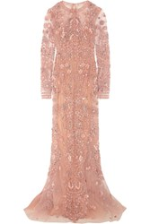 Zuhair Murad Embellished Silk Tulle Gown Pastel Pink