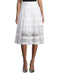Erin Fetherston Vista Sheer Striped A Line Skirt Ivory