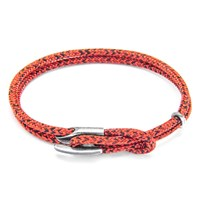 Anchor And Crew Padstow Rope Silver Braceletred Noir 23Cm