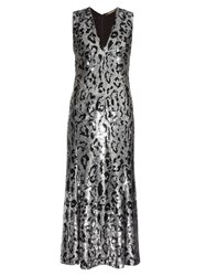Roberto Cavalli Leopard Print Sequin Embellished Midi Gown