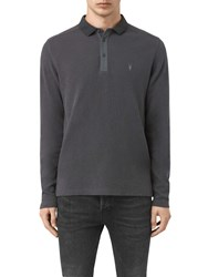 Allsaints Clash Long Sleeve Polo Shirt Iron Blue