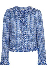 Alice Olivia Nila Tweed Jacket Blue