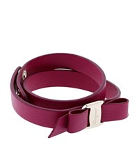 Salvatore Ferragamo Vara Leather Bow Wrap Bracelet Female Purple