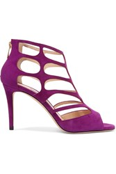 Jimmy Choo Ren Cutout Suede Sandals Purple