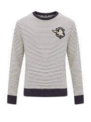Balmain Embroidered Crest Striped Cotton Sweater Navy