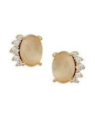 Tai Crystal Trimmed Peach Tigers Eye Stud Earrings Gold