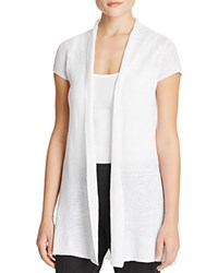 Eileen Fisher Cap Sleeve Linen Cardigan White