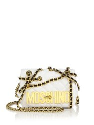 Moschino Crossover Chain Quilted Faux Leather Crossbody Bag