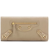 Balenciaga Metallic Edge Money Flap Leather Wallet Beige