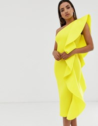 Lavish Alice One Shoulder Scuba Frill Midi Dress In Neon Yellow