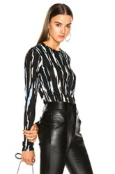Proenza Schouler Ikat Stripe Tissue Jersey Long Sleeve Tee In Abstract Black Blue Green Abstract Black Blue Green