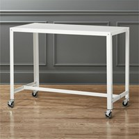 Cb2 Go Cart White Rolling Counter Table Stand Up Desk