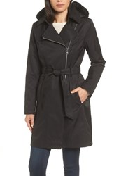 Vince Camuto 'S Belted Asymmetrical Trench Coat Black