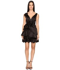 Marchesa Satin Faced Organza Cocktail With Plunging Neckline And Laser Cut Organza Flowers Black Women's Dress