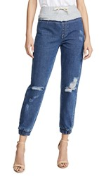 Kendall Kylie French Terry Yoke Jeans Medium Wash