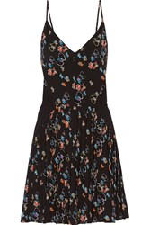 Rebecca Minkoff Refraction Pleated Floral Print Crepe Mini Dress Black