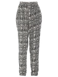 Izabel London Monochrome Printed Trousers Black White