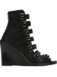 Ann Demeulemeester Buckled Wedge Sandals Black