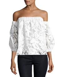 Milly Off The Shoulder Floral Burnout Blouse White