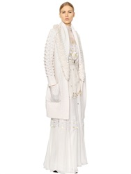 Temperley London Fringed And Belted Wool Blend Knit Coat