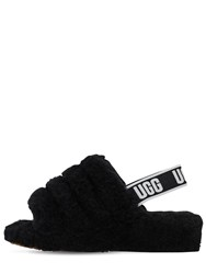 5e766ba0284 40Mm Fluff Shearling Flat Sandals Black