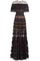 Elie Saab Floor Length Lace Dress Black