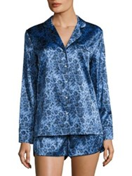 Stella Mccartney Poppy Snoozing Silk Blend Short Pajamas Blue Leopard Print
