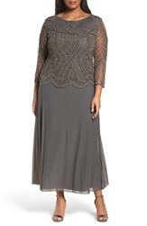 Pisarro Nights Plus Size Women's Embellished Cold Shoulder Gown
