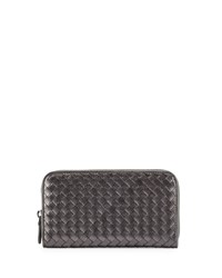Bottega Veneta Intrecciato Continental Zip Around Wallet Silver 1200 Silve