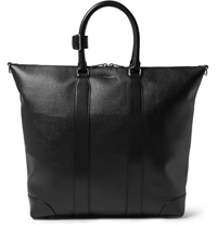 Saint Laurent Croc Embossed Leather Tote Bag Black
