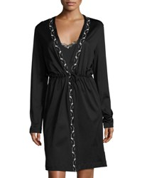La Perla Liaison Embroidered Short Robe Black