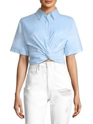 Alexander Wang Cotton Twill Twisted Front Cropped Shirt Chambray