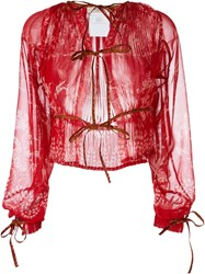 Etro Knot Detail Sheer Blouse Red