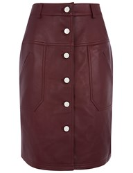 Carven Burgundy Lamb Leather Button Skirt Red