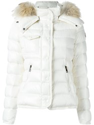 Moncler Fur Lined Hood Padded Jacket Nude And Neutrals