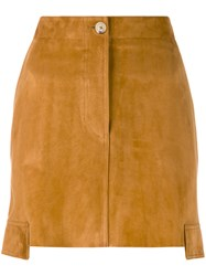 Helmut Lang Side Panel Mini Skirt Women Cotton Lamb Skin 6 Brown