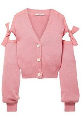 Adeam Tie Detailed Cotton Blend Cardigan Baby Pink